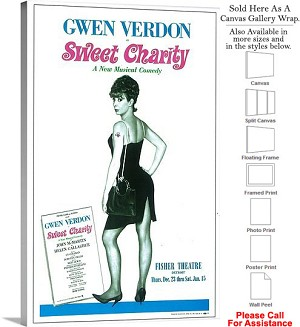"Sweet Charity 1966 Famous Broadway Musical Show Canvas Wrap 20"" x 30"""
