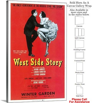 "West Side Story 1957 Famous Broadway Musical-2 Canvas Wrap 18"" x 30"""