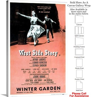 "West Side Story 1957 Famous Broadway Musical Show Canvas Wrap 20"" x 30"""