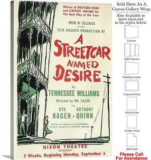 "A Streetcar Named Desire 1988 Broadway Musical-2 Canvas Wrap 20"" x 30"""