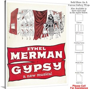 "Ethel Merman Gypsy 1959 Famous Broadway Musical Canvas Wrap 23"" x 30"""