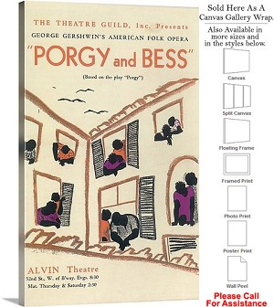 "Porgy And Bess Story 1936 Famous Broadway Musical Canvas Wrap 18"" x 30"""