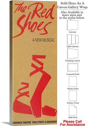 "The Red Shoes 1993 Famous Broadway Musical Show Canvas Wrap 17"" x 48"""