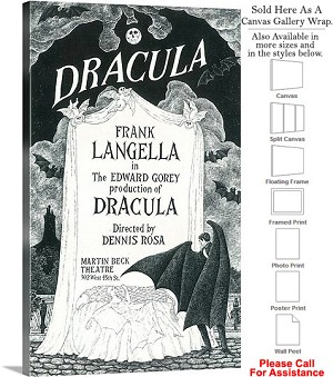 "Dracula 1977 Famous Broadway Musical Production Canvas Wrap 18"" x 30"""