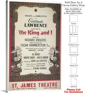 "The King And I 1951 Famous Broadway Musical Show Canvas Wrap 18"" x 30"""