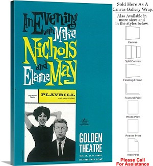 "Evening with Nichols and May 1960 Broadway Musical Canvas Wrap 20"" x 30"""