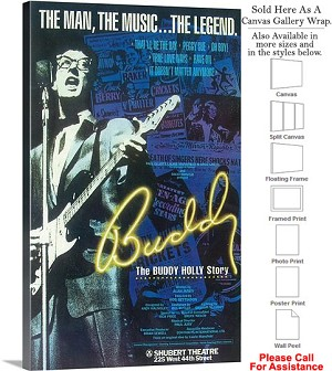 "The Buddy Holly Story 1990 Famous Broadway Musical Canvas Wrap 18"" x 30"""
