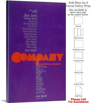 "Company 1970 Famous Broadway Musical Production Canvas Wrap 18"" x 30"""