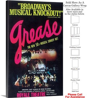 "Grease 1972 Famous Broadway Musical Production-3 Canvas Wrap 18"" x 30"""
