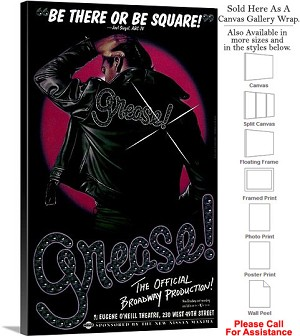 "Grease 1972 Famous Broadway Musical Production Canvas Wrap 18"" x 30"""