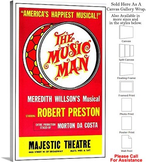"The Music Man 1957 Famous Broadway Musical Show Canvas Wrap 18"" x 30"""
