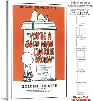 "You a Good Man Charlie Brown 1971 Broadway Musical Canvas Wrap 20"" x 30"""