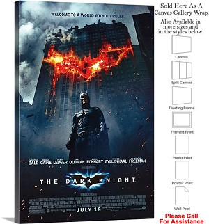 "The Dark Knight Action Movie Theater 2008 Art Canvas Wrap 20"" x 30"""