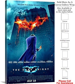 "The Dark Knight Action Movie Theater 2008 Art-4 Canvas Wrap 18"" x 30"""