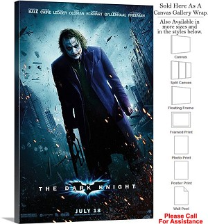 "The Dark Knight Action Movie Theater 2008 Art-2 Canvas Wrap 20"" x 30"""