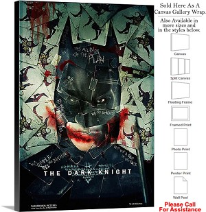 "The Dark Knight Action Movie Theater 2008 Art-5 Canvas Wrap 20"" x 30"""