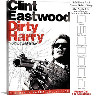"Dirty Harry Famous Action Movie Theater 1971 Art-2 Canvas Wrap 22"" x 30"""