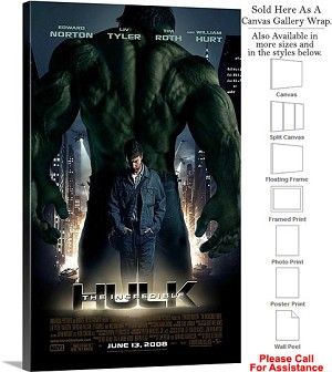 "The Incredible Hulk Action Movie Theater 2008 Art Canvas Wrap 18"" x 30"""