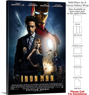 "Iron Man Famous Action Movie Theater 2008 Art-2 Canvas Wrap 20"" x 30"""
