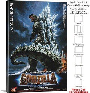 "Godzilla King of the Monsters Movie Theater 1954-3 Canvas Wrap 20"" x 30"""