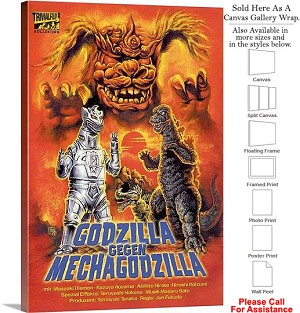 "Godzilla vs Bionic Monster Movie Theater Art-2 Canvas Wrap 20"" x 30"""