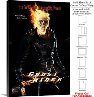 "Ghost Rider Famous Action Movie Theater 2007 Art Canvas Wrap 20"" x 30"""