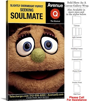 "Avenue Q 2003 Famous Broadway Musical Production Canvas Wrap 18"" x 30"""