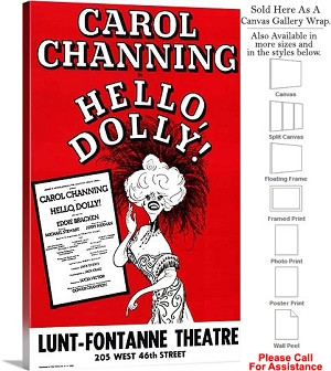 "Hello Dolly 1964 Famous Broadway Musical Show-2 Canvas Wrap 18"" x 30"""