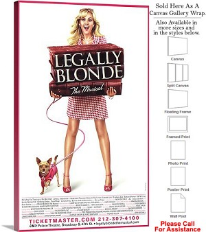 "Legally Blonde  2007 Famous Broadway Musical Show Canvas Wrap 18"" x 30"""