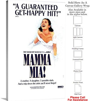 "Mamma Mia 2003 Famous Broadway Musical Production Canvas Wrap 18"" x 30"""