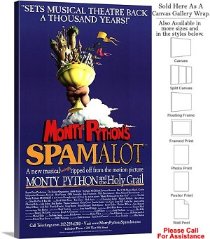 "Spamalot 2005 Famous Broadway Musical Production Canvas Wrap 18"" x 30"""