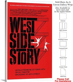"West Side Story 1957 Famous Broadway Musical Show Canvas Wrap 18"" x 30"""