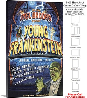 "Young Frankenstein 2007 Famous Broadway Musical Canvas Wrap 18"" x 30"""