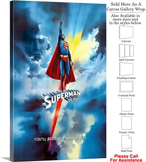 "Superman Famous Action Movie Theater 1978 Art Canvas Wrap 18"" x 30"""