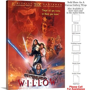 "Willow Famous Action Movie Theater 1988 Art Canvas Wrap 20"" x 30"""