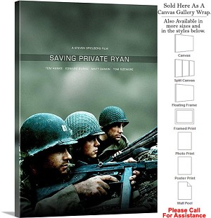"Saving Private Ryan Famous Movie Theater Art-3 Canvas Wrap 20"" x 30"""