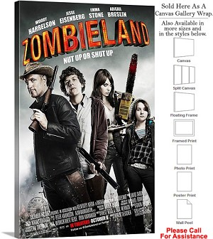 "Zombieland Famous Action Movie Theater 2009 Art Canvas Wrap 18"" x 30"""