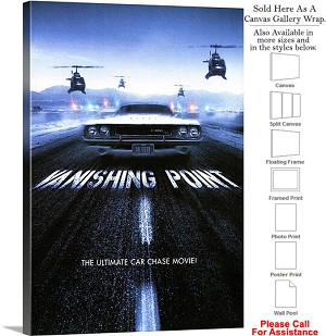 "Vanishing Point Action Movie Theater 1971 Art Canvas Wrap 20"" x 30"""