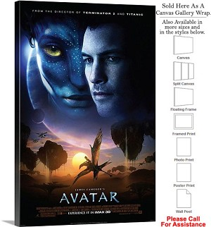 "Avatar Famous Action Movie Theater 2009 Art-3 Canvas Wrap 20"" x 30"""