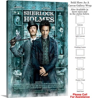 "Sherlock Holmes Action Movie Theater 2009 Art Canvas Wrap 20"" x 30"""