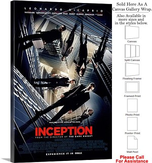 "Inception Famous Action Movie Theater 2010 Art-2 Canvas Wrap 20"" x 30"""