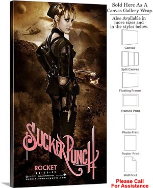 "Sucker Punch Famous Action Movie Theater Art-4 Canvas Wrap 19"" x 36"""