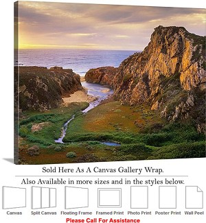 "Big Sur Garrapata Creek California Coast Landscape Canvas Wrap 24"" x 19"""