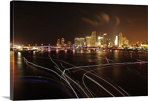 Miami, Florida Downtown At Night Panorama Picture