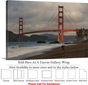 "Golden Gate Bridge at San Francisco California-7 Canvas Wrap 30"" x 20"""