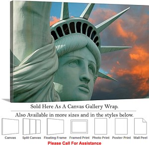 "Statue of Liberty an American Landmark New York-30 Canvas Wrap 30"" x 20"""