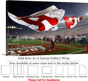 "University of Alabama Tide Flags at Football Game Canvas Wrap 30"" x 18"""