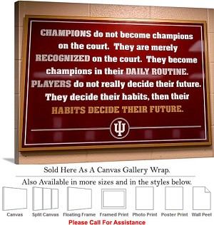 "University of Indiana Inspirational Hoosier Sign Canvas Wrap 30"" x 23"""