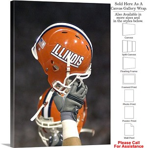 "University of Illinois College Football Helmet Canvas Wrap 23"" x 30"""