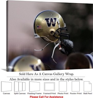 "University of Washington Huskies Football Helmet Canvas Wrap 30"" x 23"""